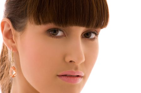 picture of lovely woman face over white Stock Photo - 4994896