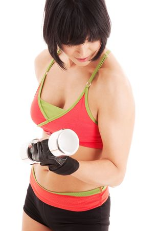 muscular fitness instructor with dumbbells over white Stock Photo - 5012788