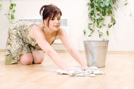 house ware: bright picture of lovely housewife cleaning floor