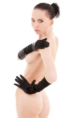 lovely naked woman in black gloves over white Stock Photo - 5020889
