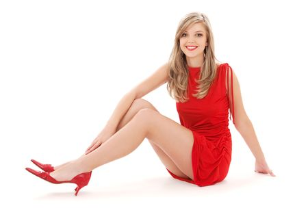 leggy: lovely girl in red dress over white