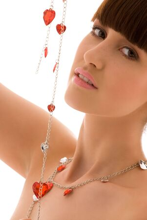 crystal gazing: picture of lovely woman with red hearts jewelry