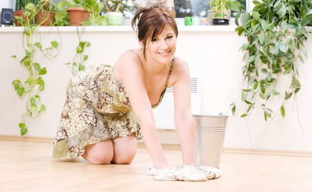 bright picture of lovely housewife cleaning floor Stock Photo - 5031291
