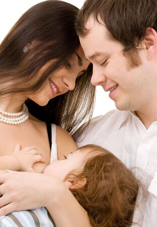 bright picture of happy family over white Stock Photo - 5031296