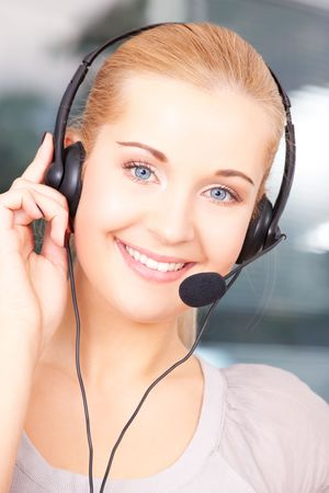 bright picture of friendly female helpline operator Stock Photo - 5031292