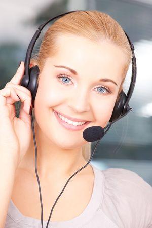 bright picture of friendly female helpline operator Stock Photo - 5031292