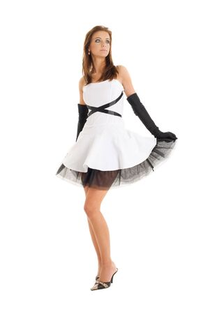 lace gloves: pin-up picture of pretty woman in black and white dress