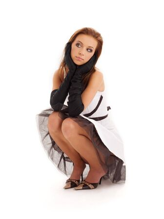 pin-up picture of pretty woman in black and white dress Stock Photo - 5031269