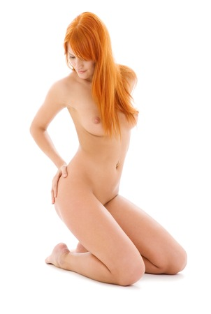 bright picture of healthy naked redhead over white Stock Photo - 5057749