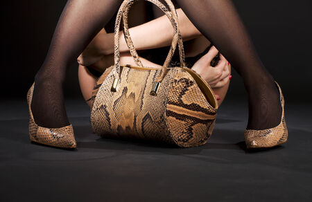 bodyscape: legs in snakeskin shoes with handbag over black LANG_EVOIMAGES