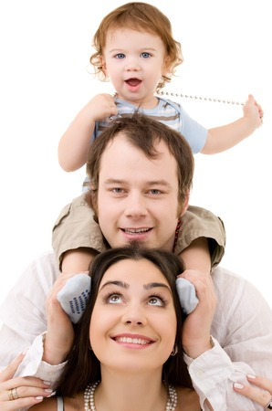 bright picture of happy family over white