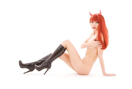 Bild von nackten roten Teufel Mädchen weiß über