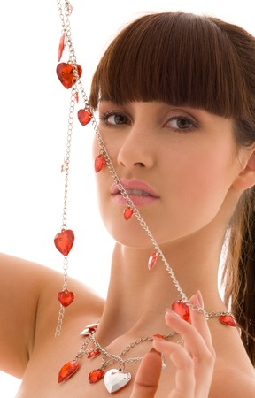 picture of lovely woman with red hearts jewelry Stock Photo - 5197091