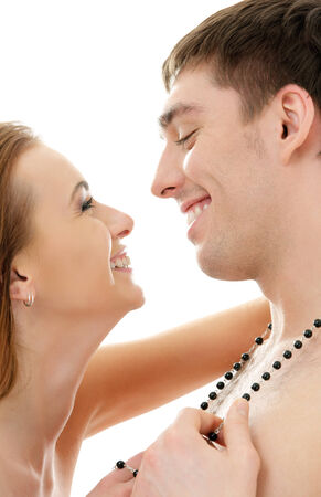fondling: picture of couple in love over white