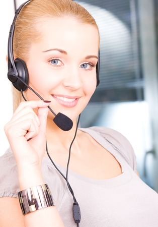 bright picture of friendly female helpline operator Stock Photo - 5197021