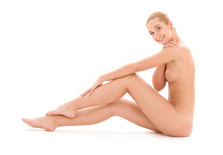picture of healthy naked woman over white Stock Photo - 5196848