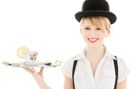 brillante imagen de encantadora chica con taza de t� LANG_EVOIMAGES