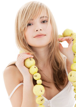 bright picture of lovely blonde with green apples Stock Photo - 5196979