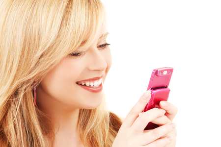 picture of happy teenage girl with cell phone Stock Photo - 5197268