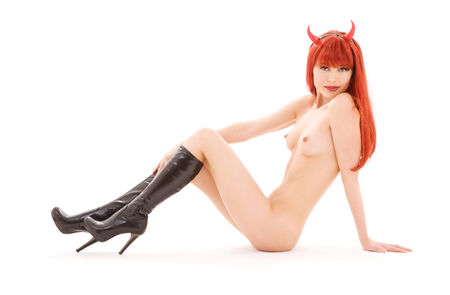 picture of naked red devil girl over white Stock Photo - 5196860