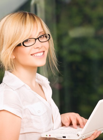 picture of office girl with laptop computer Stock Photo - 5348556