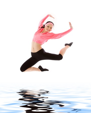 weightless: picture of happy girl jumping over water