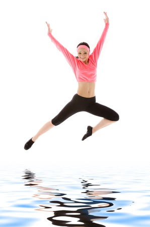 picture of happy girl jumping over water Stock Photo - 5348150