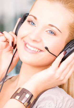 bright picture of friendly female helpline operator Stock Photo - 5348353