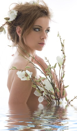 picture of lovely woman with white flowers Stock Photo - 5348616