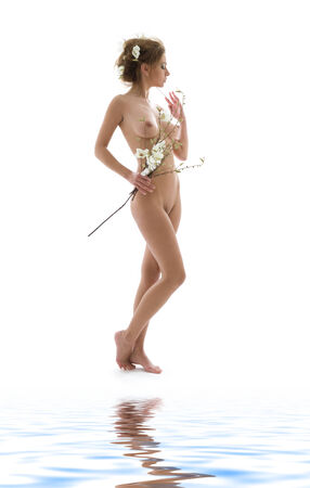 picture of naked woman with white flowers Stock Photo - 5348220