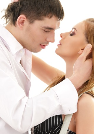 picture of couple in love over white Stock Photo - 5348447