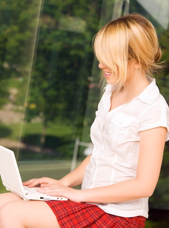 picture of office girl with laptop computer Stock Photo - 5349389