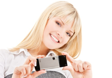 picture of happy woman using phone camera Stock Photo - 5348332