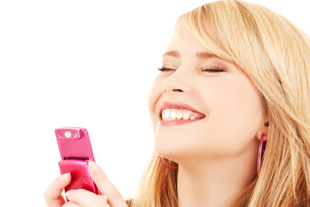 picture of happy teenage girl with cell phone Stock Photo - 5348596