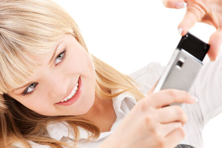 picture of happy woman using phone camera Stock Photo - 5348466
