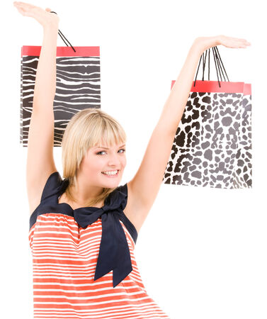 happy woman with shopping bags over white Stock Photo - 5348191