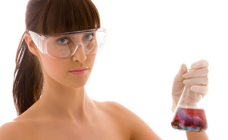 closeup of beautiful lab worker holding up test tube Stock Photo - 5348282