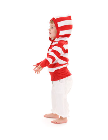 picture of little girl extending hand over white Stock Photo - 5668731