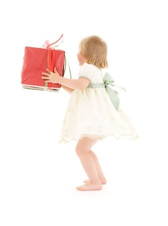 picture of girl with gift box over white Stock Photo - 5660050