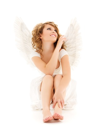 barefoot teens: picture of happy teenage angel girl over white