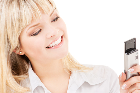 picture of happy woman with cell phone Stock Photo - 5676954