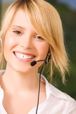 bright picture of friendly female helpline operator Stock Photo - 5685321