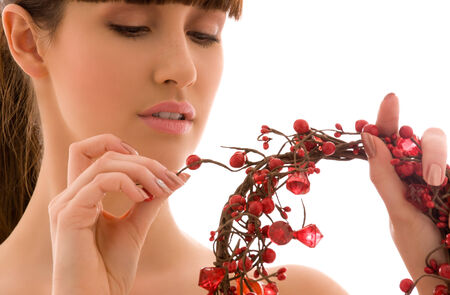 portrait of lovely woman with red ashberry Stock Photo - 5676984