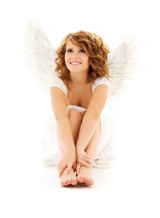 picture of happy teenage angel girl over white Stock Photo - 5668830