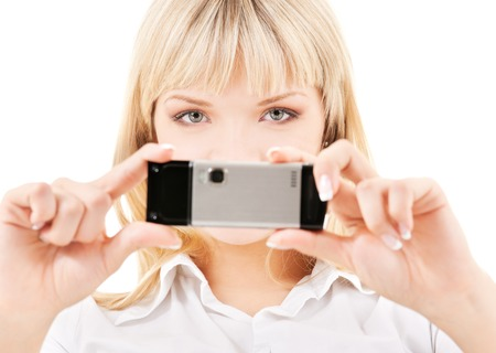 picture person: picture of happy woman using phone camera