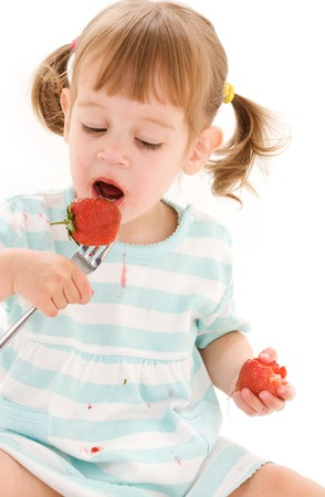 picture of little girl with strawberry over white Stock Photo - 5668966