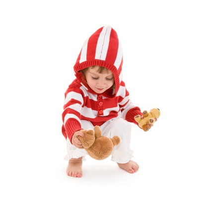 picture of little girl with plush toys over white Stock Photo - 5668667