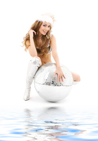 mirror on the water: sexy santa helper with big disco ball over white