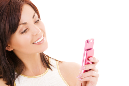 picture of happy woman with cell phone Stock Photo - 5668984