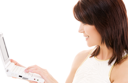 picture of happy woman with laptop computer Stock Photo - 5676891